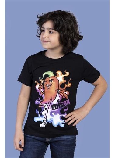 Toontoy Kids Toontoy Erkek Çocuk Acı Biber Baskılı Tişört Siyah